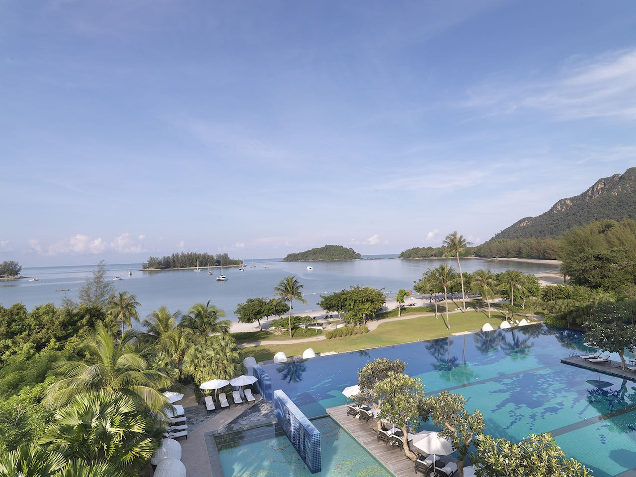 Panorama view of the Danna Langkawi hotel overlooking the infinity pool and The Andaman Sea