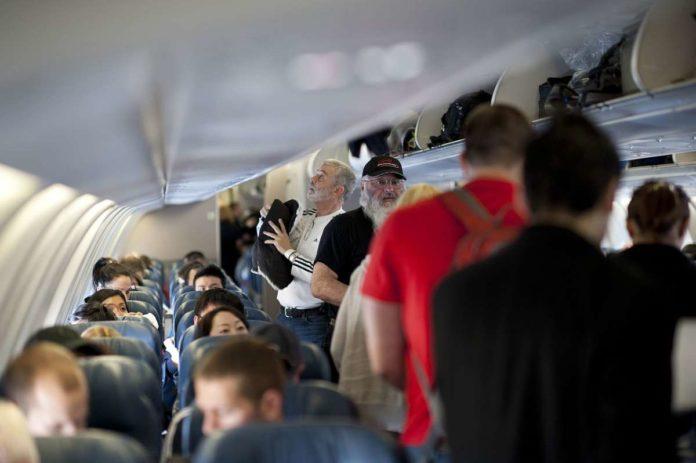 Passengers on board an aircraft
