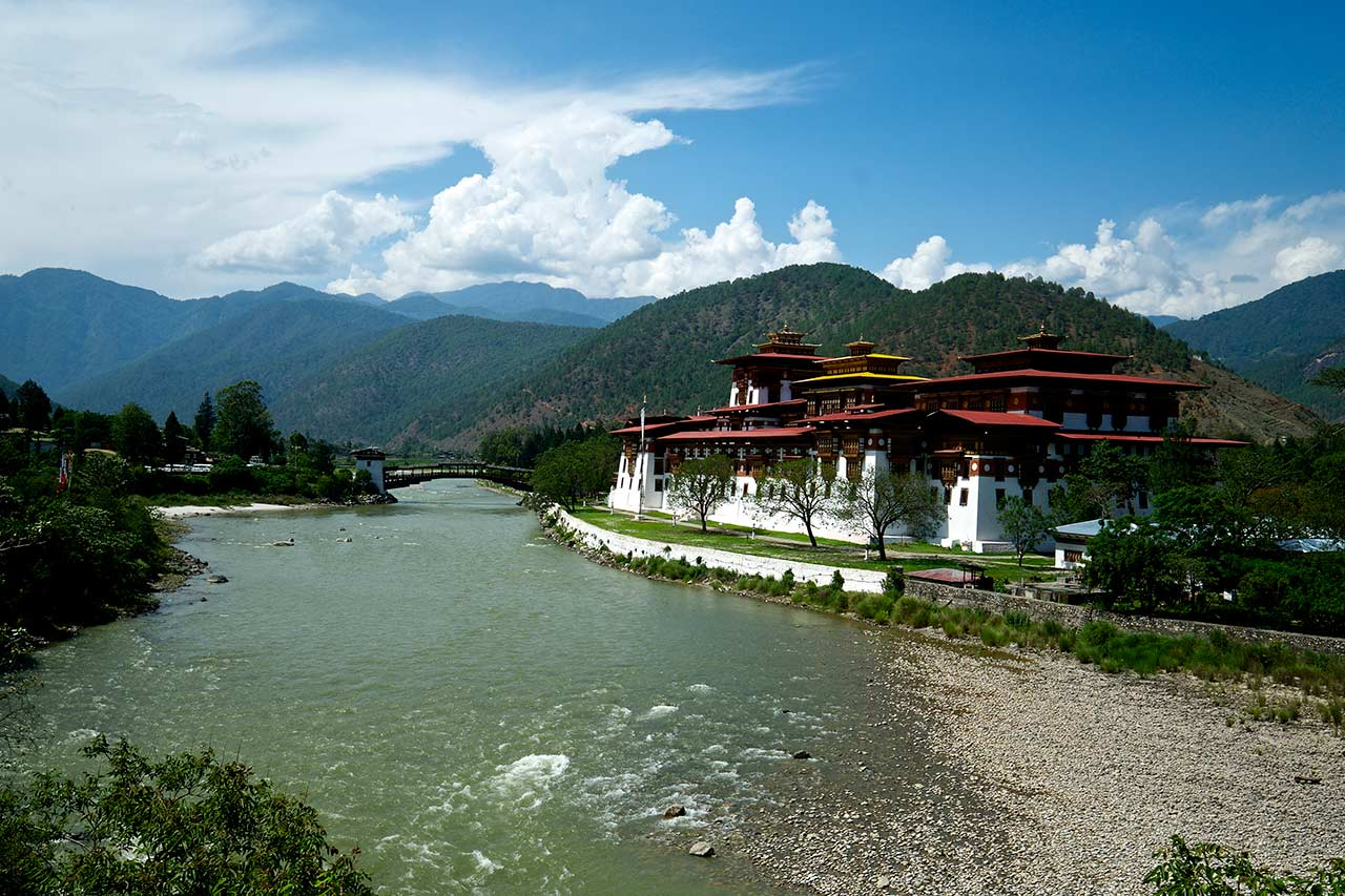 Punakha Dzong, also known as Palace of Great Happiness