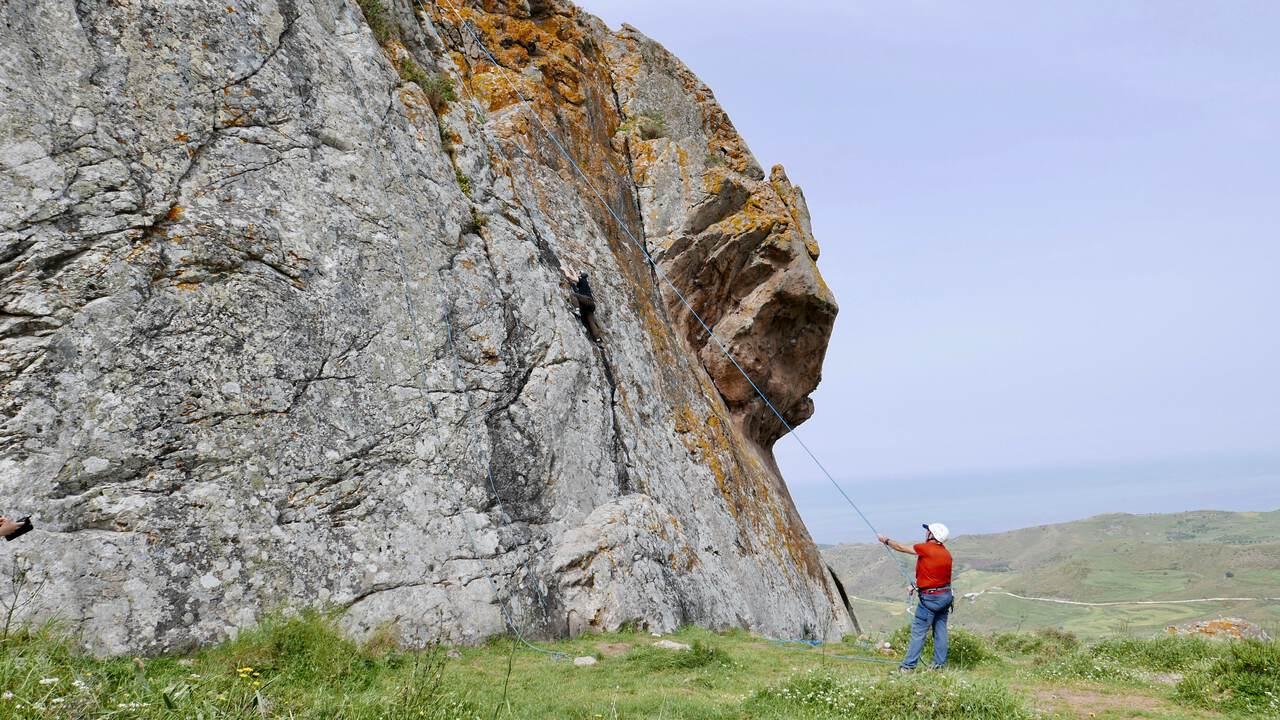 Climbing Hawk Rock