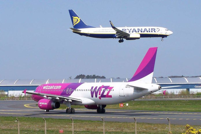 budget airlines: Ryanair and Wizz