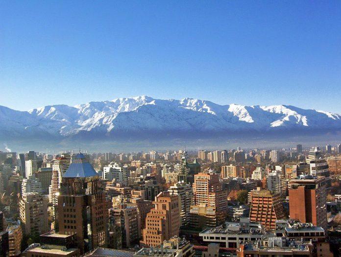 Santiago de Chile, view with snowy mountains