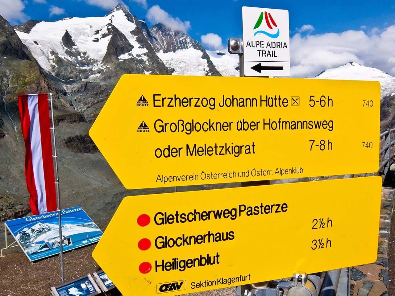 Alpe Adria - Signpost at the Pasterze Glacier, Austria