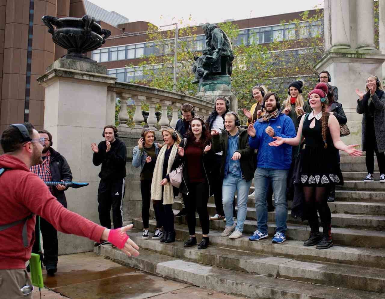 Singing Bohemian Rhapsody outside Liverpool Law Courts