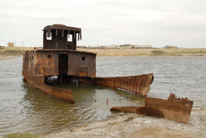 Skeleton ship in the Aral Sea, Kazakhstan