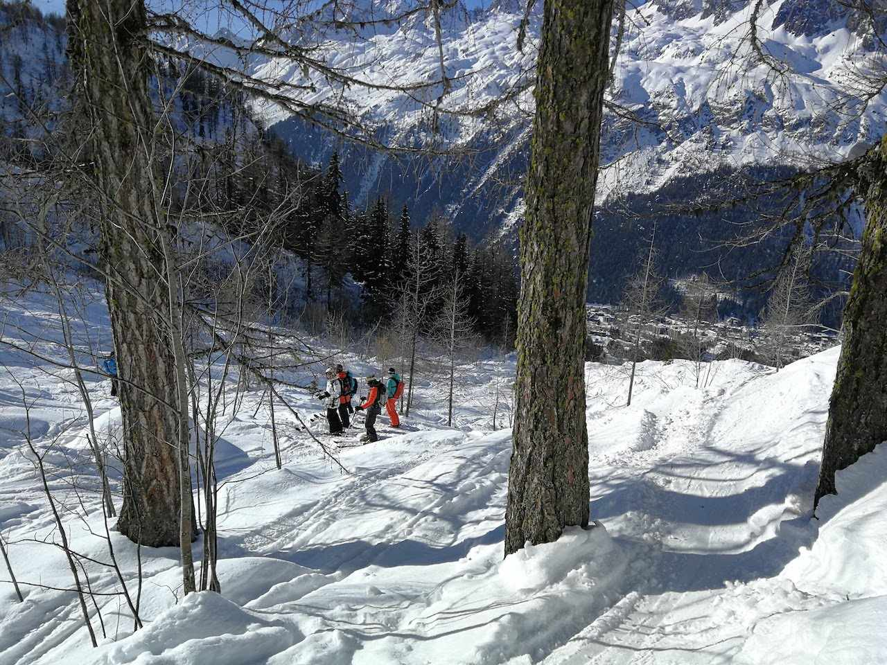 Skiing off piste through the trees