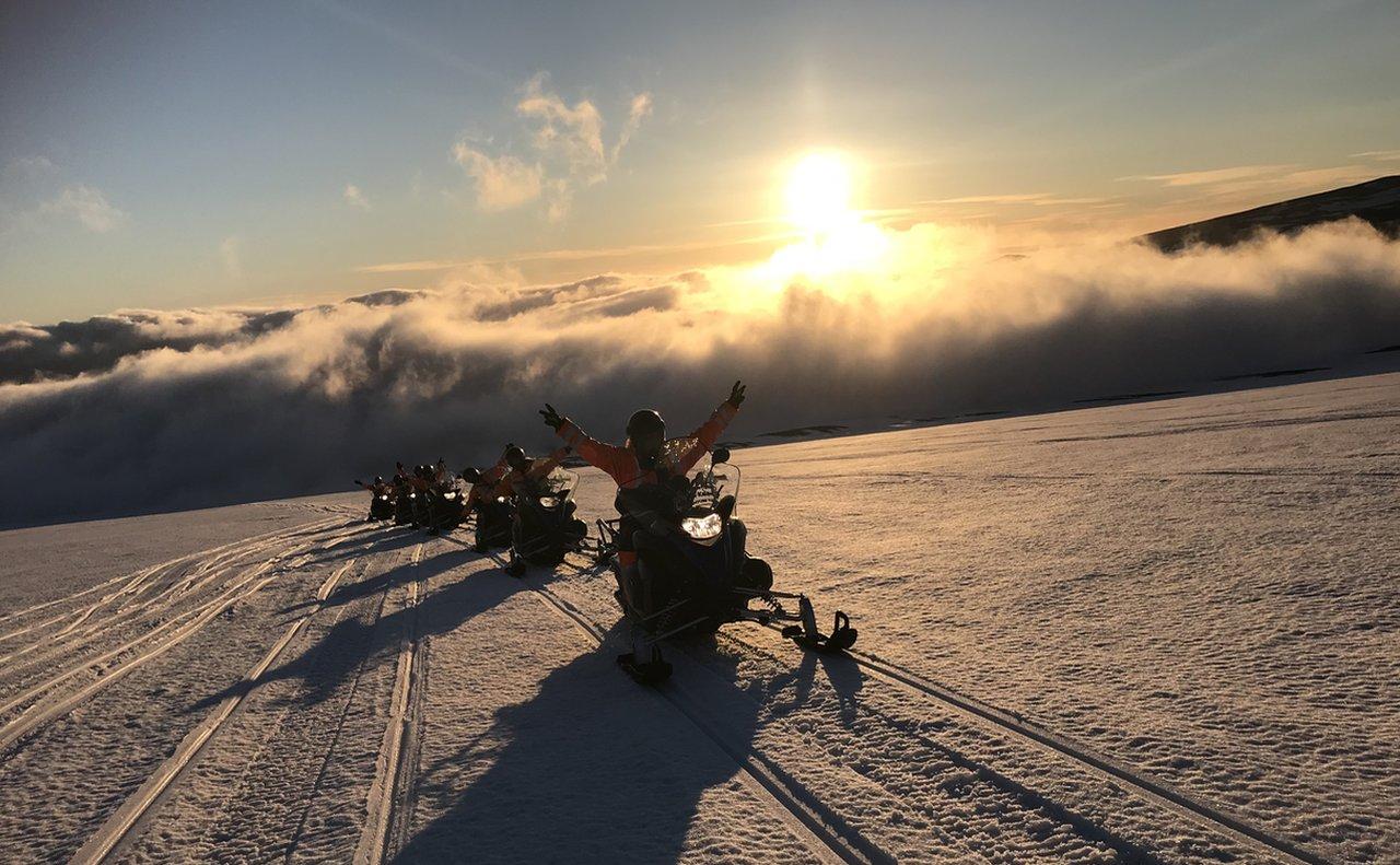 Snowmobile on the glacier