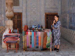 Souvenir seller within the harem at the Ichan Qala in Khiva, Uzbekistan