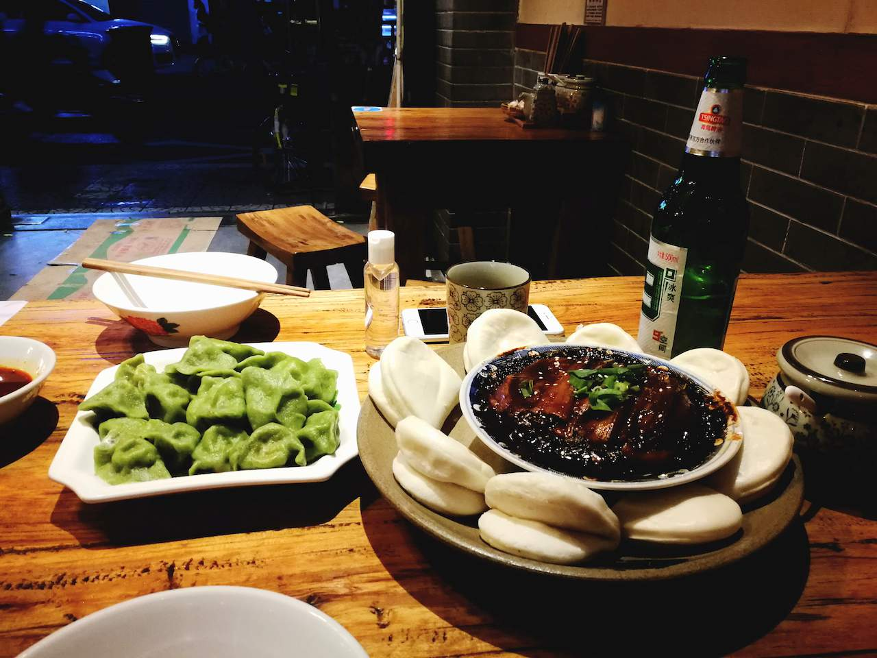 Spinach dumplings and pork belly in Xi'an