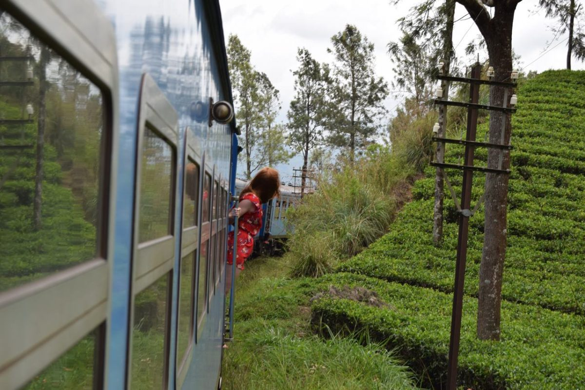 Sri Lanka blue train girl standing out