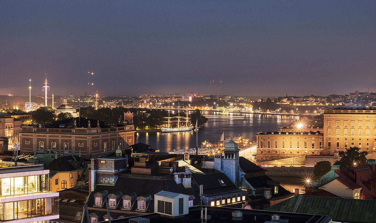 Stockholm by night, as seen from At Six