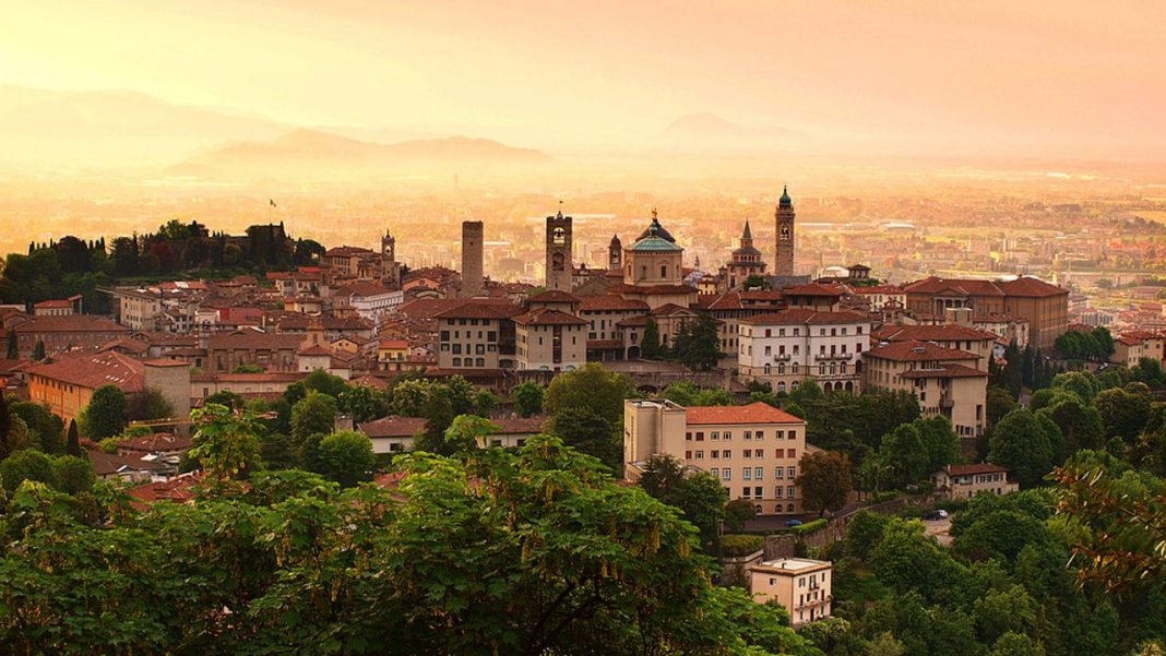 Sunrise at Bergamo, Lombardy, Italy