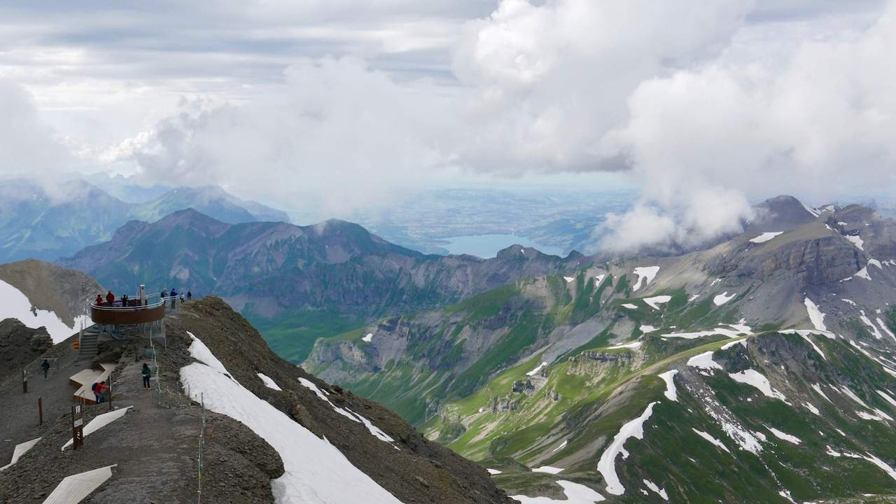"Wonderful views from the top of the Schilthorn, including the ""007 Walk of Fame"""