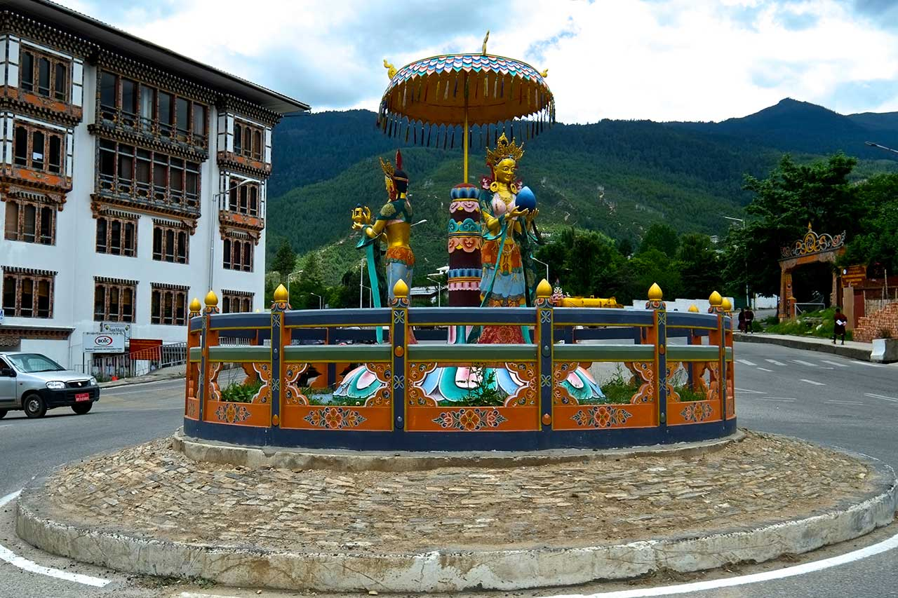 The mini roundabout of ornate pavilion with goddesses in Thimphu