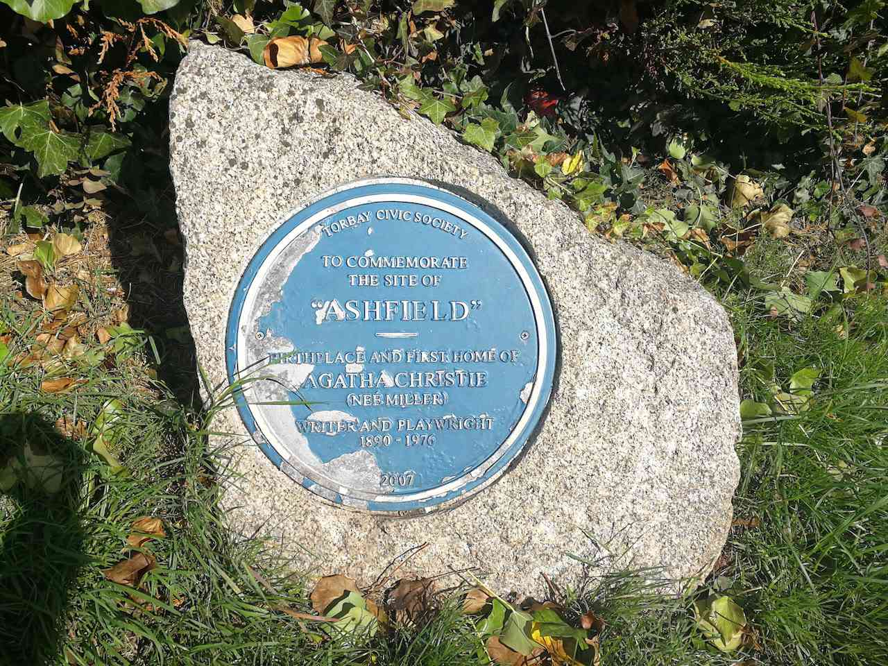 The plaque commemorating the birth place of Agatha Christie