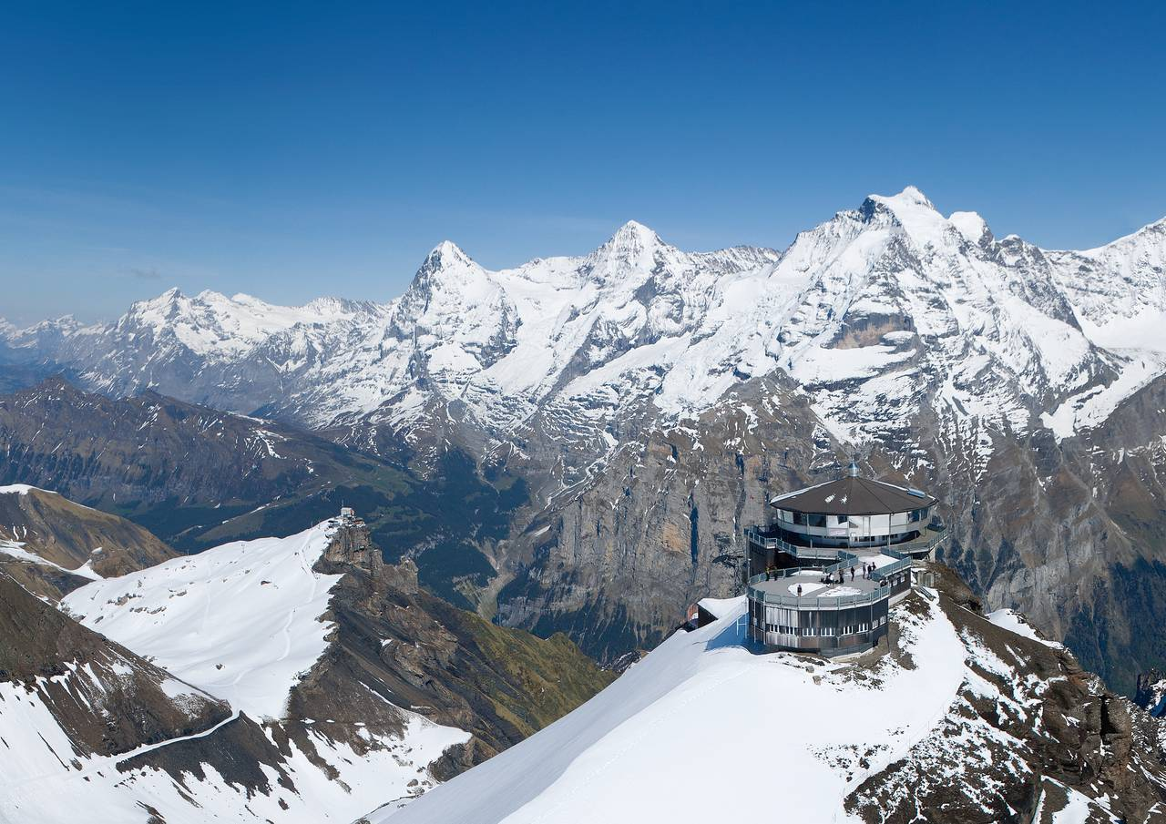 View of the revolving restaurant on top of the Schilthorn.c. by Interlaken Tourismus