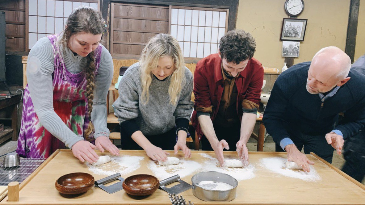 The team making Senbei in Takko