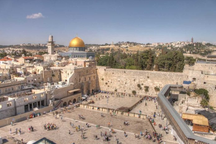 Western Wall and the old city of Jerusalem