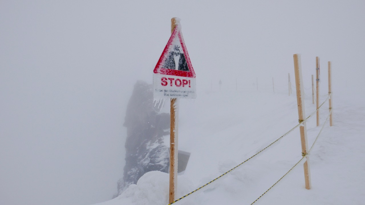 Total whiteout at Jungfraujoch