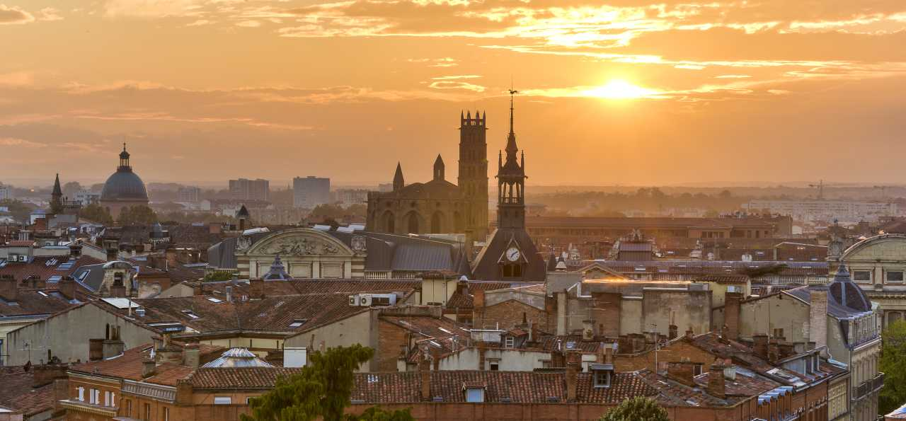 Toulouse rooftops at sunset