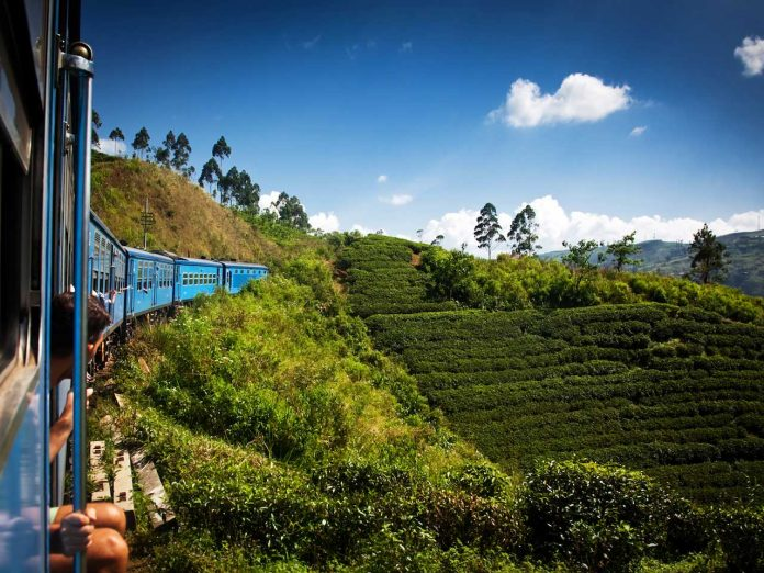 Train from Nuwara Eliya to Kandy through the tea plantations in the highlands