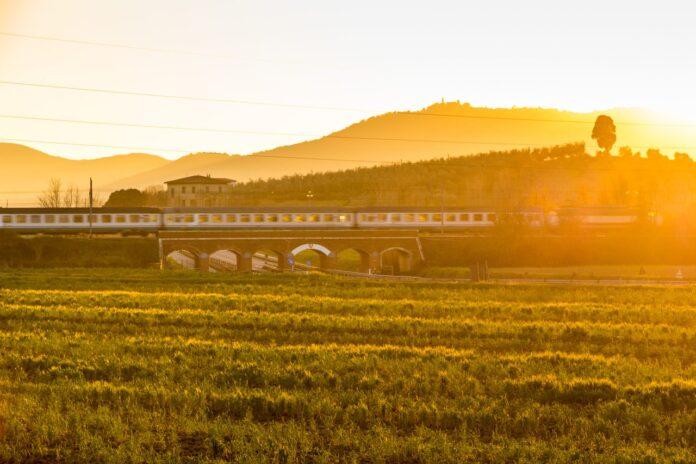 Train over bridge in Tuscany, Italy