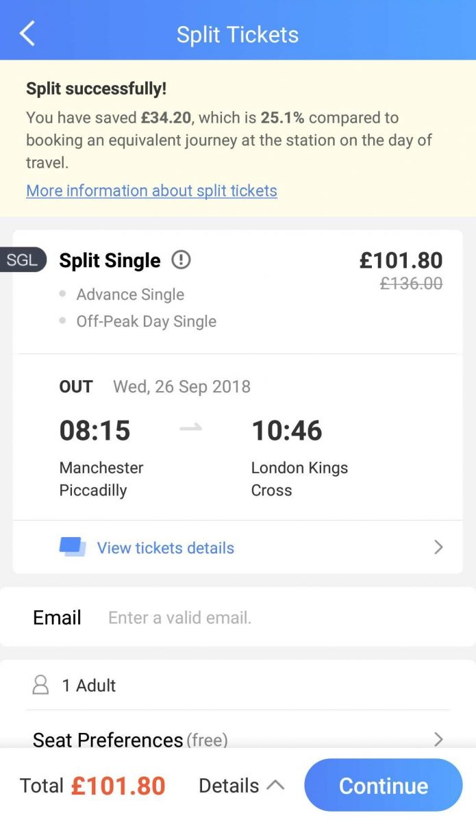 Trainpal split tickets