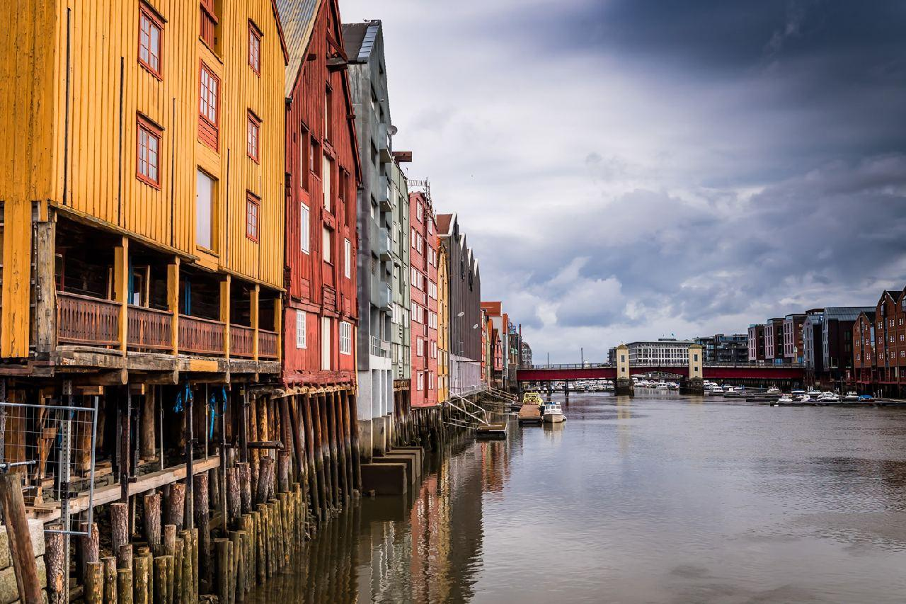 Clapperboard homes on the water in Trondheim Norway