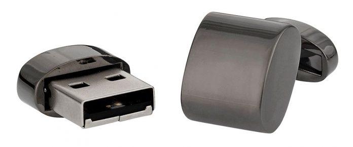 USB Flash Drive Cufflinks in Gun Metal 4GB
