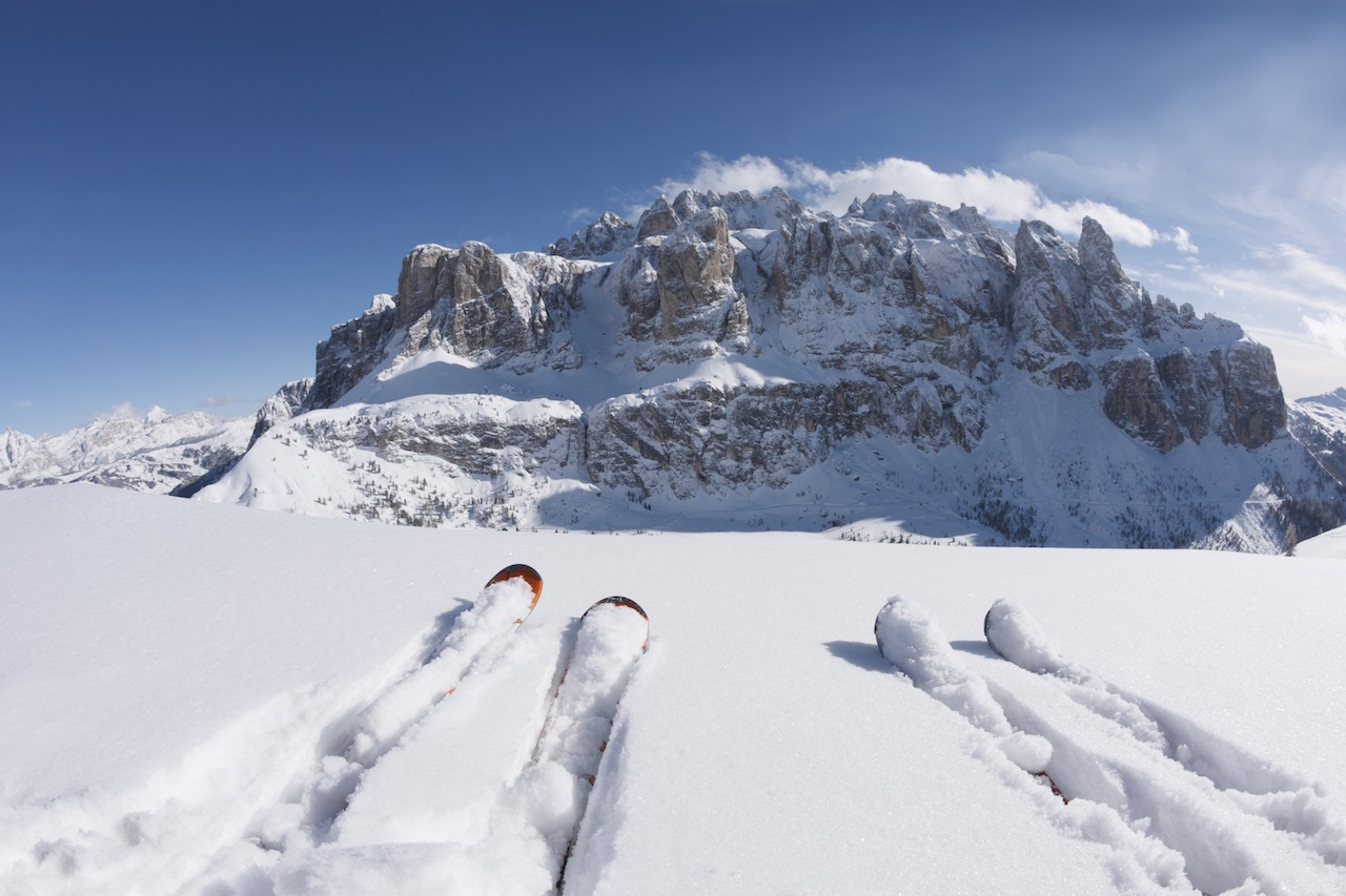 Val Gardena two skis in snow