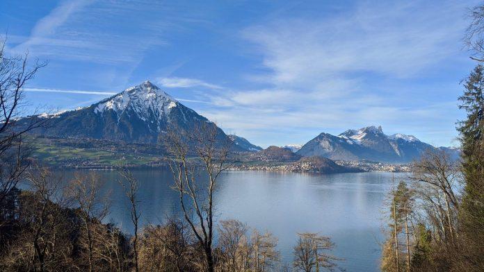 View from run Lake Thun