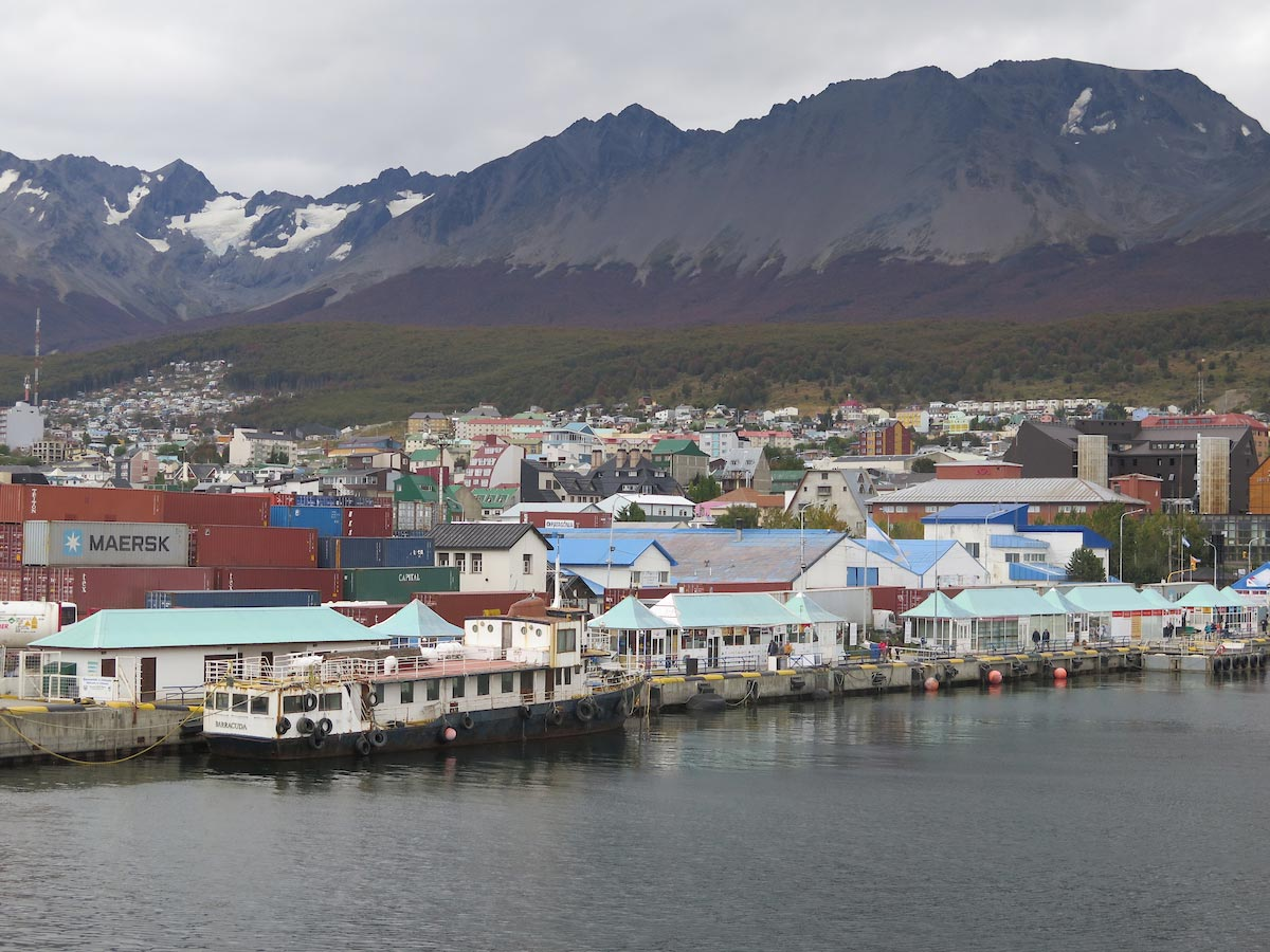 View of Ushuaia town from the deck of MV Stella Australis
