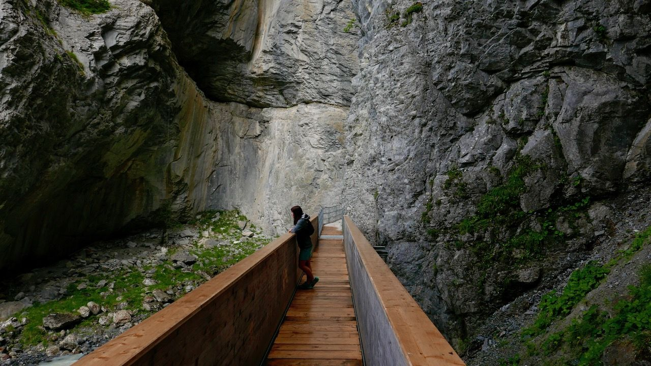Walkway at Grindelwald's glacier canyon
