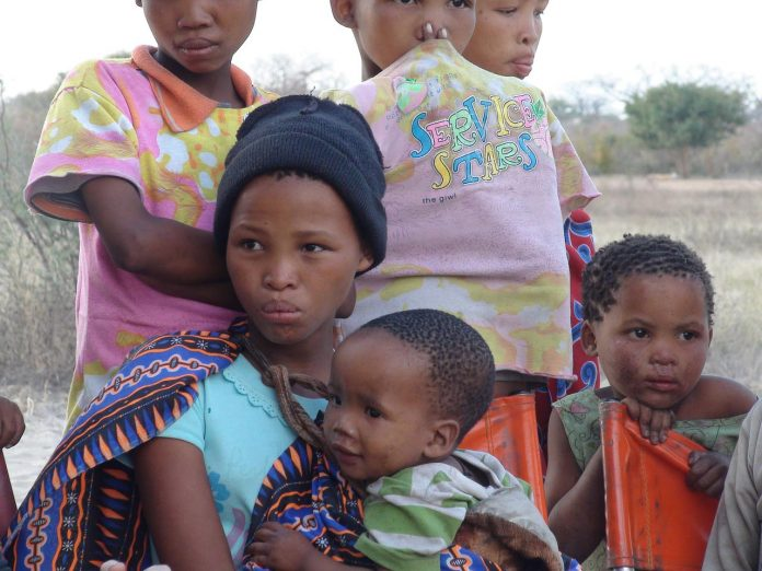 Botswana woman and children