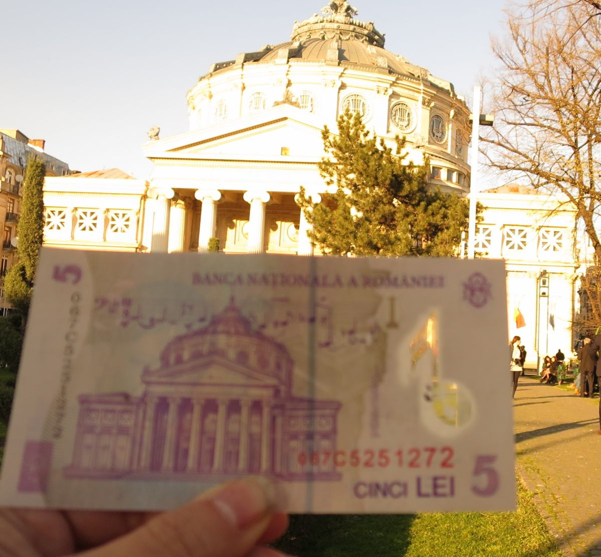 Bucharest Atheneaum with 5 Lei note