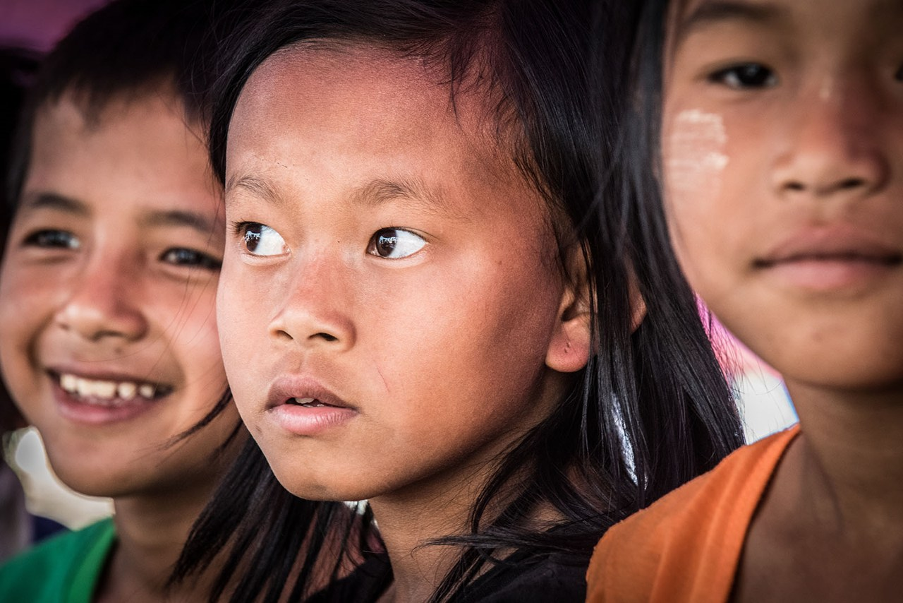 Myanmar - children and girl looking to a side