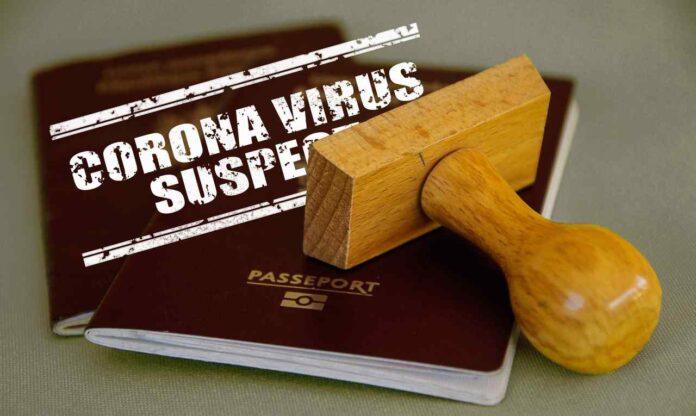 Corona virus passport stamp