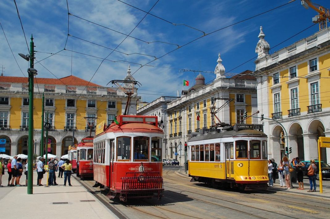 coulourful Lisbon trams