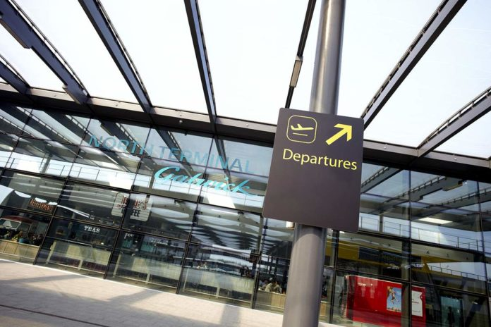 Gatwick Airport North Terminal departures sign