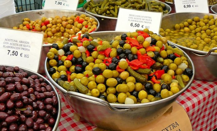 green olives selling at the market