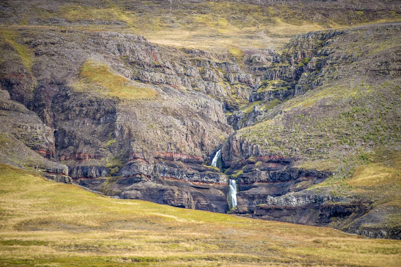 Iceland waterfalls within the landscape