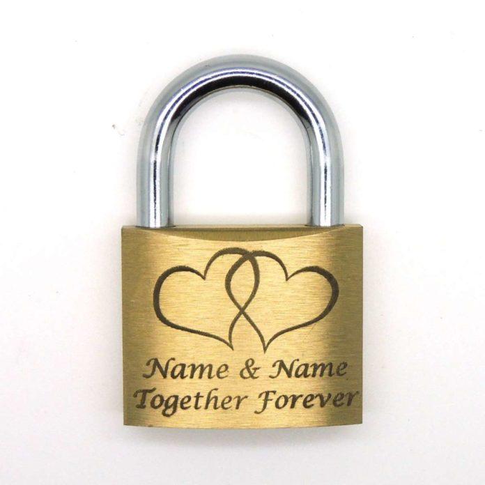 Personalised engraved love lock