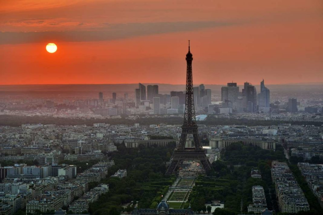Sunset over Paris with view of Eiffel Tower