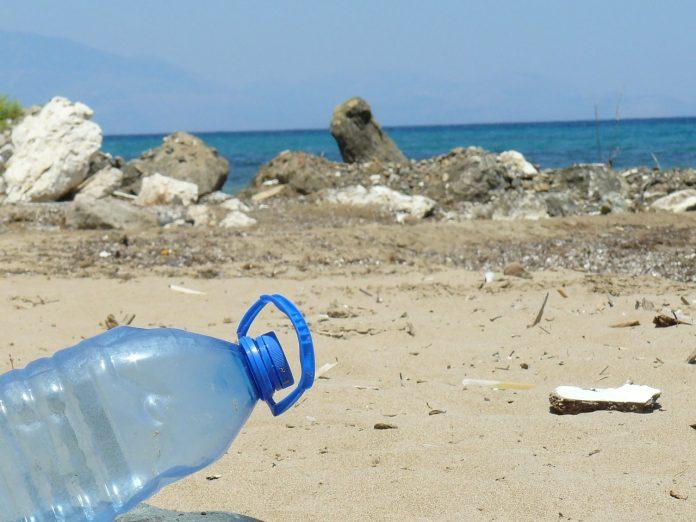 plastic bottle beach sea
