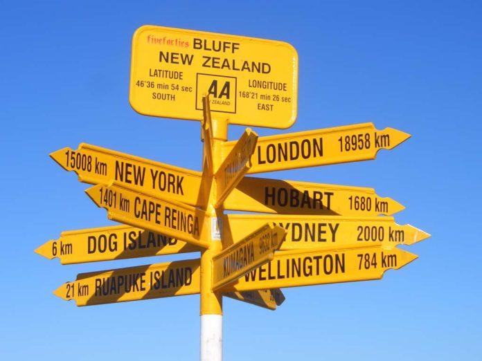 Destination road signs
