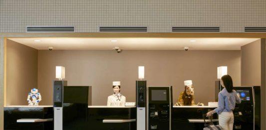 Reception desk at the robot-staffed Henn-na Hotel in Nagasaki, Japan