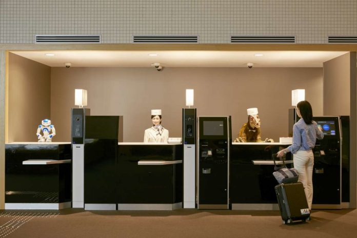 Reception desk at the robot-staffed Henn-na Hotel in Nagasaki, Japan