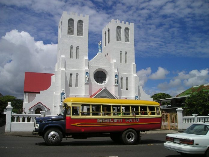Samoa bus in front of church