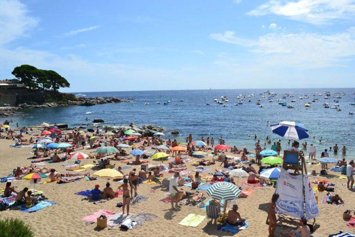 crowded sandy beach