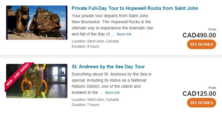 New Brunswick tours and activities